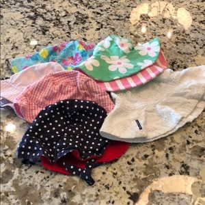 6 baby sun hats - different brands